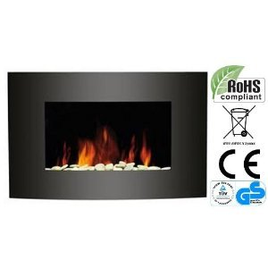 Wall Mounted Electric Fire Fireplace with Black Curved Glass Screen Plasma Style 1800W MAX