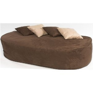 XXX-L HUGE 16cu FT FAUX SUEDE BEANBAG BED BEAN BAG SOFA BED BROWN