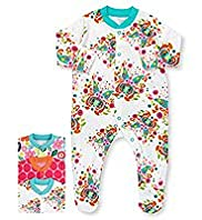3 Pack Pure Cotton Pixel Butterfly Sleepsuits