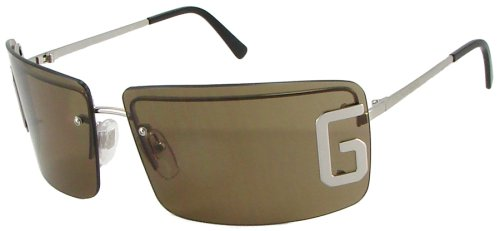 Dolce & Gabbana D&G 400S 130 Fashion Sunglasses, ShieldStyle, Big Logo, Chrome Silver Frame/ Brown Lenses