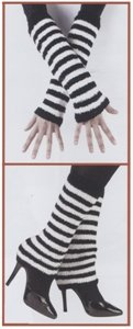 80s Fuzzy Leg Warmers (or Arm Warmers) (White/Black) Adult Accessory