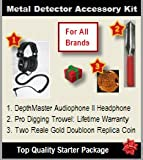 Metal Detector Accessory Kit (Silver Value Kit): Includes DepthMaster Audiophone II Metal Detector Headphone, Pro Digging Trowel, and a Two Reale Gold Doubloon Replica Coin.