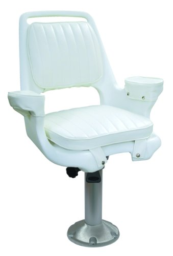 "Wise 8WD1007-8-710 Chair with Cushions, 15"" Fixed Height Pedestal, White"