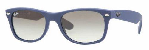 Ray-Ban RB2132 New Wayfarer Sunglasses,Light Blue Frame/Gradient Grey Lens,55 mm