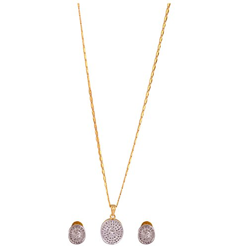 Gehna Mart Pendent Set With Earrings In Yellow Gold Finish 9.1 Grams