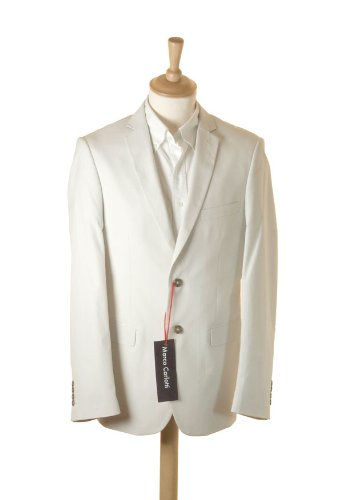Marco Carlotti White Mens Suit 100% Cotton - 42R Jacket - 34R Trousers