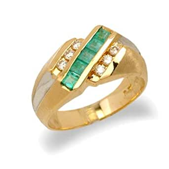 14k gold mens emerald and ring size 9