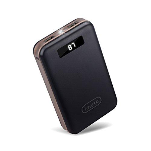 iMuto 超大容量 20000mAh モバイルバッテリー 急速充電 2USB出力ポート スマートデジタルスクリーン LED ライト搭載 iPhone 7 6s / 6s Plus / 6 / 6 Plus / 5s / 5c / 5 / iPad / Android / Xperia / Galaxy / 各種スマホ / タブレット/ ゲーム機 / Wi-Fiルータ 等対応 カラー:ブラック