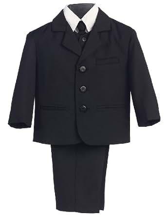 5 Piece Boy's Dress Suit with Shirt, Vest, and Tie (2, Black)