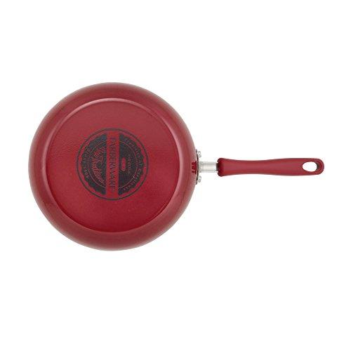 "Farberware 14821 New Traditions Aluminum Nonstick Deep Skillet, 11.25"", Red"