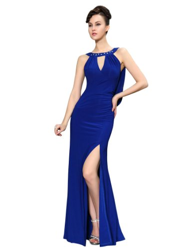 HE09904SB12, Sapphire Blue, 10US, Ever Pretty Unique Rhinestones Slitted Women Long Party Dress 09904