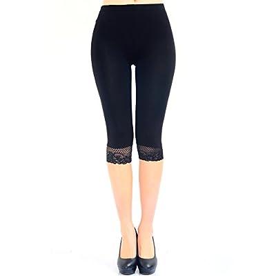 Liang Rou Women's Spandex Lace Trim Thin Cropped Leggings
