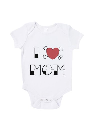 Blue Ivory I Love Mom Crossbone Baby Grow Art Humour Gift Present front-962960