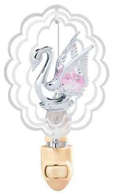 Swan In Scalloped Oval Night Light..... With Pink Swarovski Austrian Crystals - 1