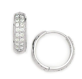 14ct White Gold Round CZ Large Hinged Earrings - Measures 15x16mm