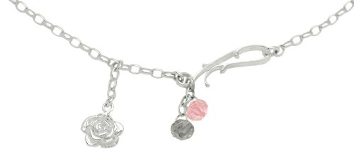 Rubie Rae Sterling Silver 'Wild Rose' collection Antique Rose and Smoky Grey Swarovski English Rambling Rose with Scroll Link detail Pendant - Chain length 119cm