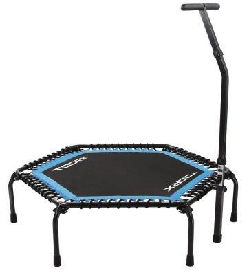 Toorx - Trampolino esagonale nero-azzurro con asta di sostegno ad altezza regolabile