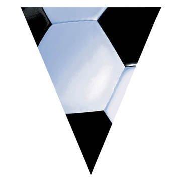 Amscan Festive Soccer Plastic Pennant Banner, 12', Black/White - 1