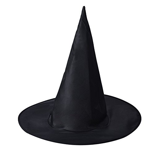 Witch Hat, Yasalu 1Pcs Adult Womens Black Witch Hat For Halloween Costume Accessory (Different Spiderman Costumes)