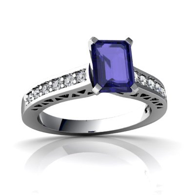 14ct White Gold Emerald-cut Lab Sapphire Ring