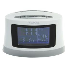 Konig Radio Alarm Clock with Outside Temperature Sensor and Weather Projection