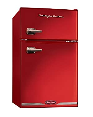 Nostalgia Electrics RRF325HNRED Retro Series 3.0-Cubic Foot Compact Refrigerator