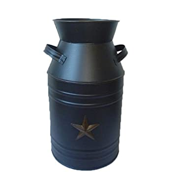 Craft Outlet Black Tin Milk Can Container with Star, 11-Inch