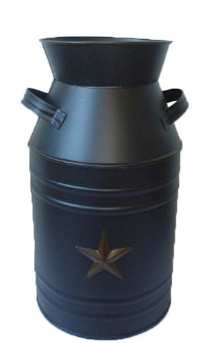 Craft Outlet Black Tin Milk Can Container with Star, 11-Inch 0