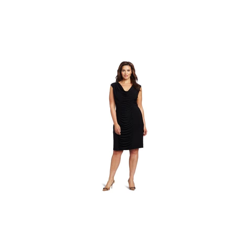 Jessica Howard Womens Plus Size Rouched Cowl Neck Dress