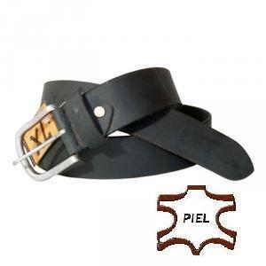 Cinturon de piel negro de caballero