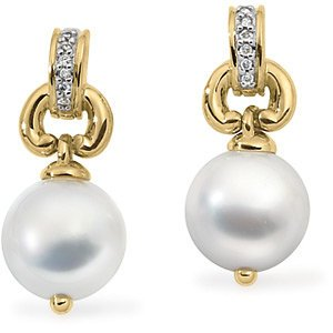 Genuine IceCarats Designer Jewelry Gift 18K Yellow Gold South Sea Cultured Pearl And Diamond Earrings  Overstock-Nonreturnable. Pair .06Cttw/10.50Mm Near Roun South Sea Cultured Pearl And Diamond Earrings  Overstock-Nonreturnable In 18K Yellow Gold