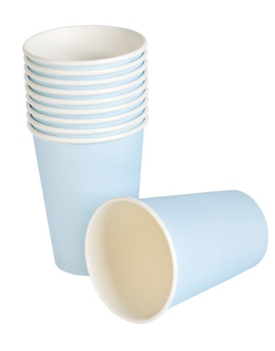 Lot 25 New Light Blue Birthday Party Paper Beer Beverage Drinking 9oz Cup - 1