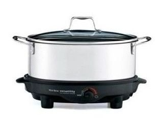 West Bend 84866 6-Quart Versatility Slow Cooker with Glass Cover, Stainless by West Bend