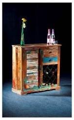 Vintage Kommode, Kuchenschrank mit Weinregal, aus Recyclingholz / Kommoden, Sideboards & Fernsehtische