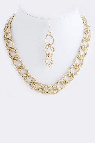 Karmas Canvas Double Chain Linked Necklace Set (Gold)