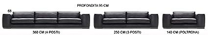 Calia Maddalena - Fauteuil 140x68x95cm pour Canapé contemporain Volkan, Tissu Microfibre Marron Foncé