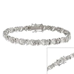 Herz Armband mit echten Diamanten - Sterling Silber
