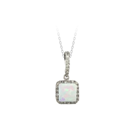 Sterling Silver Square Created Opal and Cubic Zirconia Pendant Necklace, 18