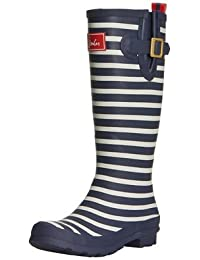 Joules Women's Welly Print Rain Boot, French Navy Stripe, 7 M US ...