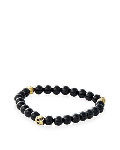 Rotenier Men's Small Black Onyx Bead and Sterling Silver 3 Skulls Bracelet