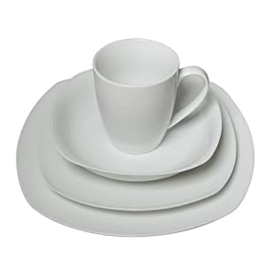 16 Piece Pure White High-Fire Porcelain Dinnerware Set, Classic Square