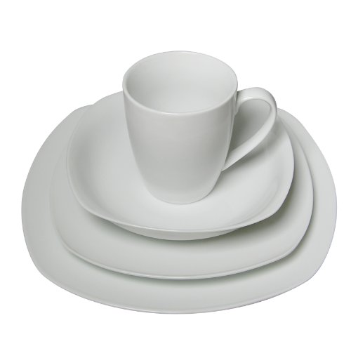 16 Piece Pure White High-Fire Porcelain Dinnerware Sets, Classic Square