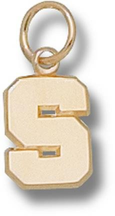 Michigan State Spartans Polished S 3 8 Charm - 14KT Gold Jewelry by Logo Art