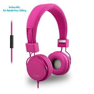 Eco V20 Stereo Headphones With In-Line Mic - Pink - Retail
