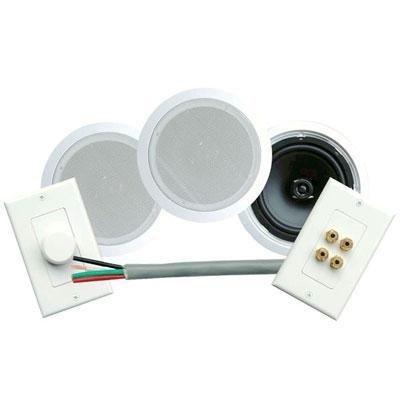 Pyle Home Phskit8 300-Watt 8-Inch Dual In-Ceiling Speaker /Volume Control/Speaker Wall Plate/Wiring Combo Speaker System (Pair)