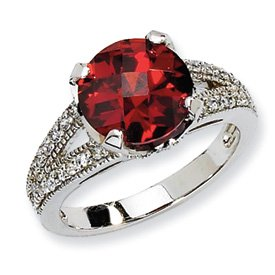 Genuine IceCarats Designer Jewelry Gift Sterling Silver Checker-Cut Dark Red & White Cz Ring Size 8.00