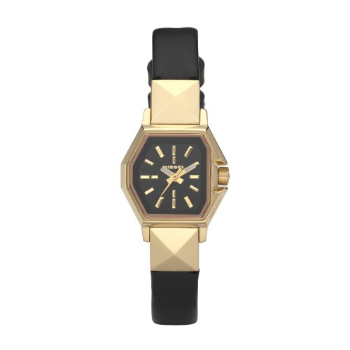 Diesel Ladies Gold Ip Analogue Watch Dz5226 With Black Leather Strap