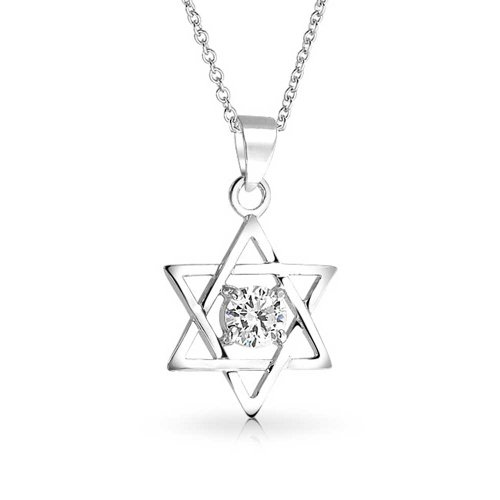 Bling Jewelry Aprire Stella di David Collana 5 millimetri CZ Pendant Silvertone 16in