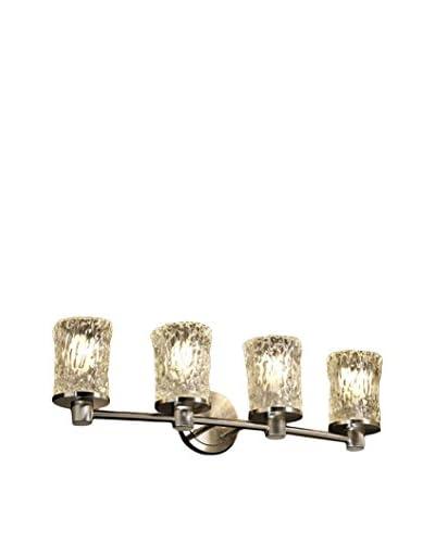Justice Design Group Veneto Luce Rondo 4-Light Vanity Light, Brushed Nickel/Clear Textured
