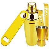 King International Stainless Steel Golden Coloured Bar Set Combo, Bar Tool Set Of 4 Pcs